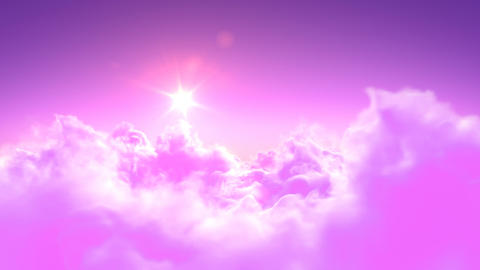 Flying over the magic pink clouds Animation