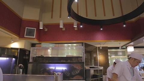 Tilt Shot In Popular Tokyo Sushi Restaurant stock footage