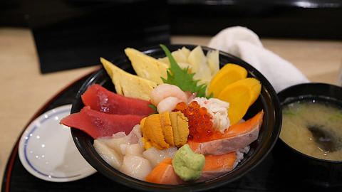 Tokyo sushi donburi from Tsukiji Fish Market Footage