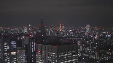 Evening - Shinjuku skyline Tokyo Tower Roppongi with zoom Footage