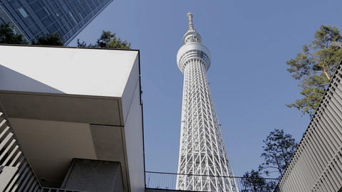 Tokyo Sky stree - Forward vertical dolly shot sunny Live Action