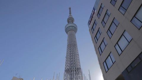 Tokyo Sky tree building next to Asahi building - sunny Footage