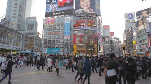 before sunset - tilt pan of Shibuya crossing Tokyo Live影片
