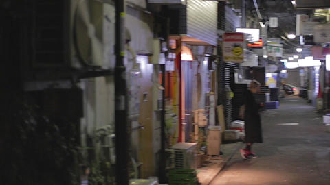 Night tilt pan - Shinjuku Golden Gai - 2 alleys Footage