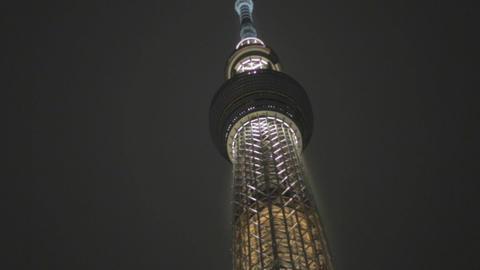 night Tokyo skytree - medium angle Footage