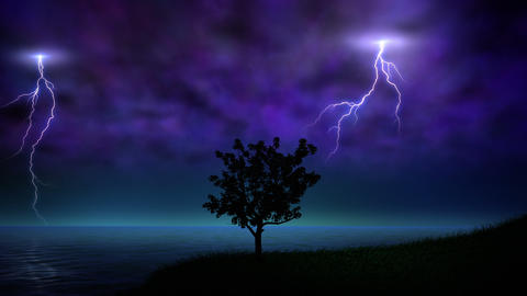 Night storm with lightning loop Animation