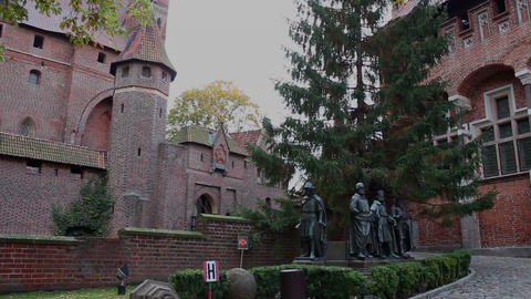 Right pan of medieval fortress - Statues of the Teutonic Grand Masters 2 Footage