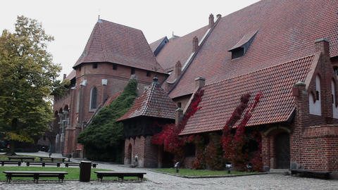 Right Pan Of The Courtyard And Medieval Castle stock footage