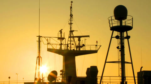 Sunrise Ship Mast stock footage