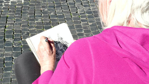 Artist Woman Painting Drawing Fountain Monument Piazza Navona Rome Italy Footage