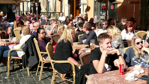 Bar Cafeteria Restaurant People Crowd Tourists Tourism Rome Italy Italia Footage