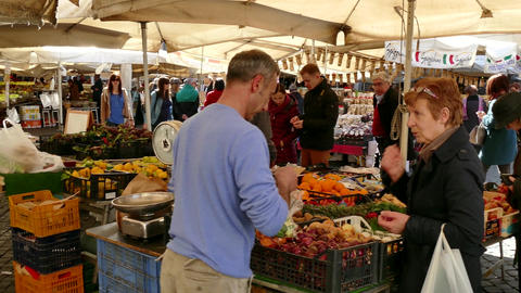 Campo De ' Fiori Traditional Market With People Shopping Rome Italy Footage