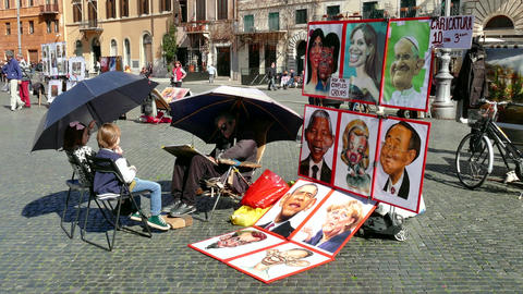 Man Painting Children Caricature Selling Celebrities Portraits Rome Roma Italy Footage