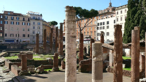Ruins Archaeology Excavations Art Monument Roman Temples In Rome Italy stock footage