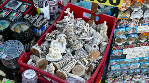 Souvenir Gifts Shop Stall Market Tourists In Rome Roma Italy Footage