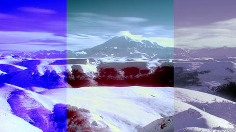 InfraRed landscape: Movement of the clouds on the mountains Elbrus, Northern Cau Footage