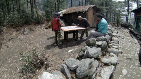 EVEREST AREA, NEPAL - MARCH, 2014: 2.7K. Nepalis playing a board game Carrom on  Footage