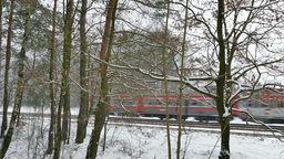Local train in Poland. View from the forest in winter Footage