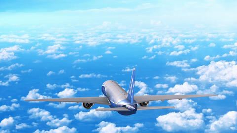 Commercial jet airplane flies at high altitude above the clouds Animation