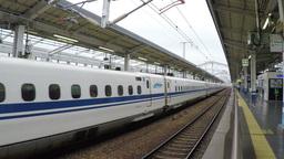 Shinkansen train departing from the Shin Osaka Station in Osaka, Japan Footage