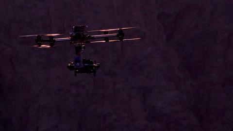 Quadrocopter Backlit Sunset Footage