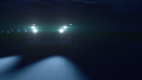 Silver Sports Car in the Night Animation