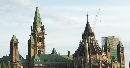 Rear view of the Canadian Parliament in Ottawa Footage