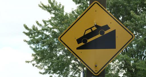 Steep slope road traffic sign Footage