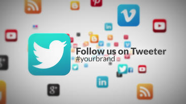 Social Media Icons Fly Through Corporate Business Advertising Intro stock footage