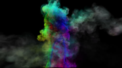 Dancing girl in smoke. On black background Animation