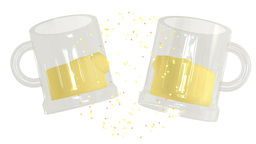 Glasses of beer clink together in a celebratory toast Animation