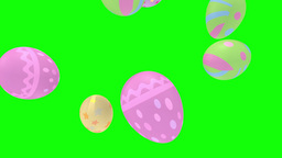 Bouncing Easter Eggs On Green Screen Chroma Key Background stock footage