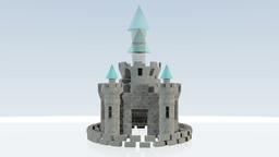 Beautiful fairytale castle constructed brick by brick Animation