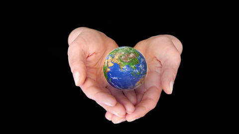 Earth In Hands On Black Background. 4k stock footage