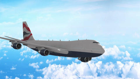 Plane flight against clouds Animation