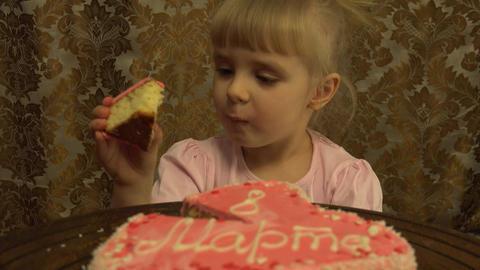 Little Princess Taste a Big Piece of Cake. 4K, UHD, Ultra HD resolution Footage