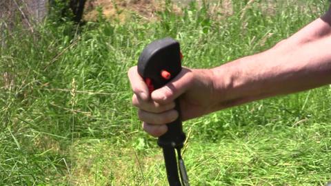Gardener mowing grass 05b Footage