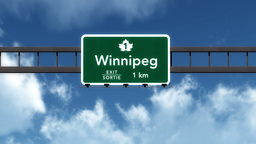 4K Passing Winnipeg Canada Transcanada Highway Sign With Matte 2 Stylized stock footage