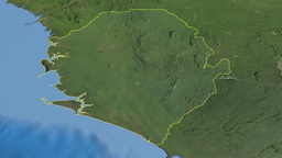 Sierra Leone, glide over the map, outlined Animation