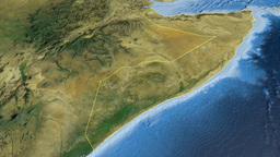 Somalia, glide over the map, outlined Animation