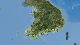 South Korea, glide over the map, outlined Animation