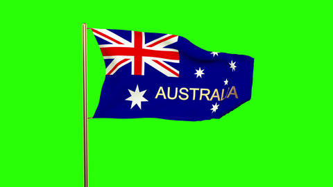 Australia flag with title waving in the wind. Looping sun rises style. Animation Animation
