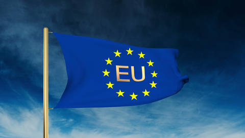 Europe flag slider style with title EU. Waving in the win with cloud background Animation