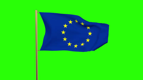 Europe flag waving in the wind. Green screen, alpha matte. Loopable Animation