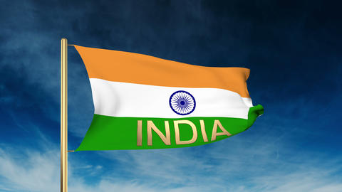 India flag slider style with title India. Waving in the win with cloud backgroun Animation