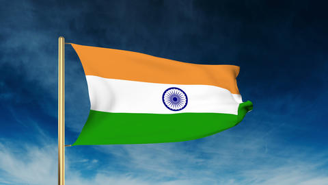 India flag slider style. Waving in the win with cloud background Animation