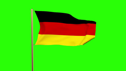 Germany flag waving in the wind. Green screen, alpha matte. Loopable Animation