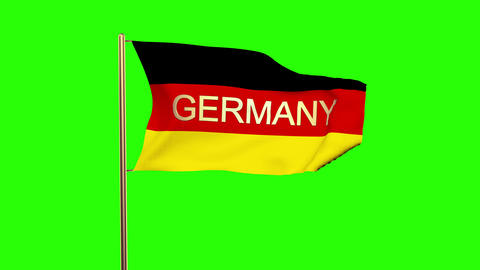 Germany flag with title Germany waving in the wind. Looping sun rises style. Ani Animation