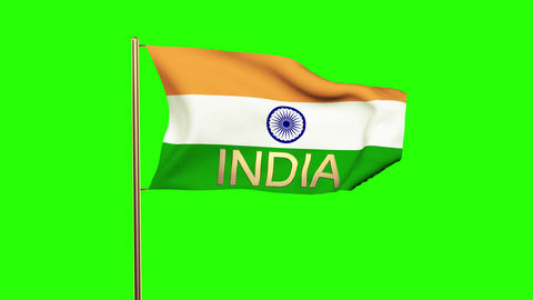 India flag with title India waving in the wind. Looping sun rises style. Animati Animation