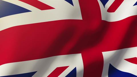 United Kingdom Flag Waving In The Wind. Looping Sun Rises Style. Animation Loop stock footage